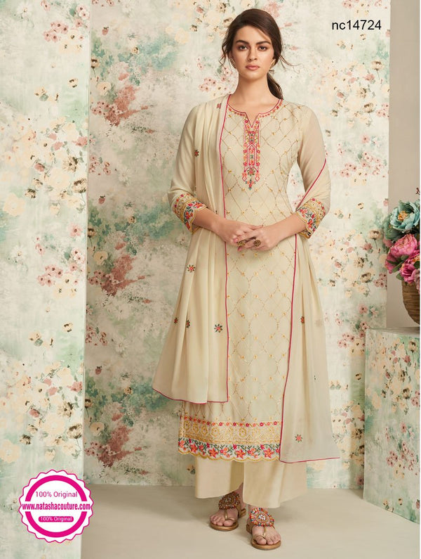 Cream Georgette Palazzo Suit NC14724