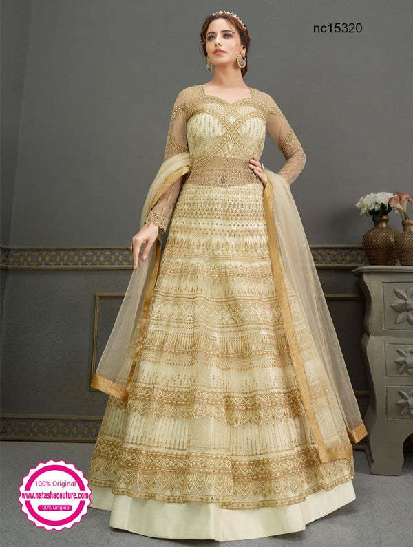 Cream Net & Silk Anarkali Lehenga NC15320