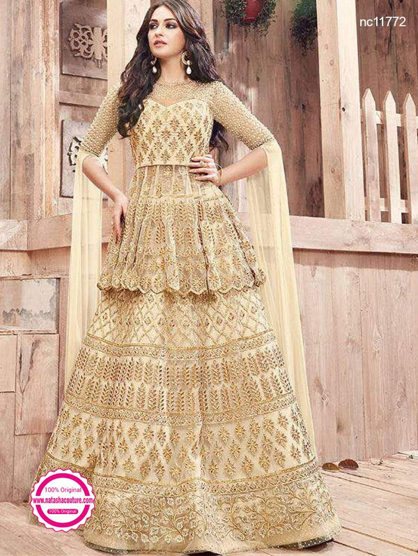Cream Net Lehenga & Long Top NC11772
