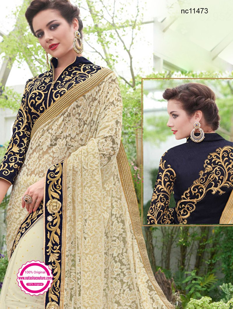 Cream Net Saree NC11473