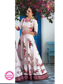 Cream & Pink Art Silk Gown NC11770