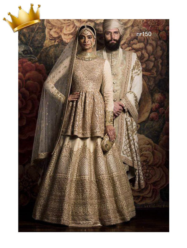 Cream Pure Raw Silk & Net Exclusive Designer Lehenga NR150