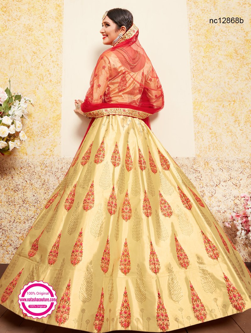 Cream & Red Satin Lehenga Choli NC12868B