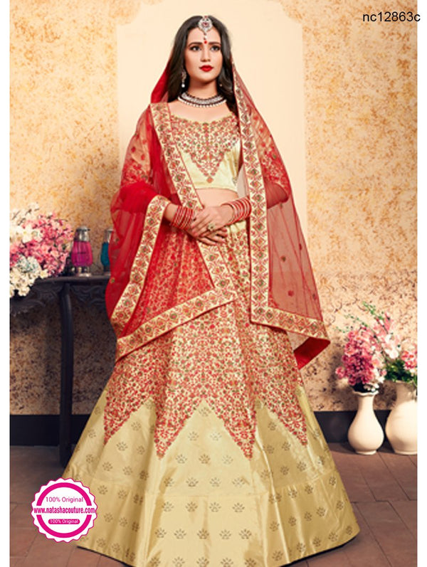 Cream Satin Lehenga Choli NC12863C