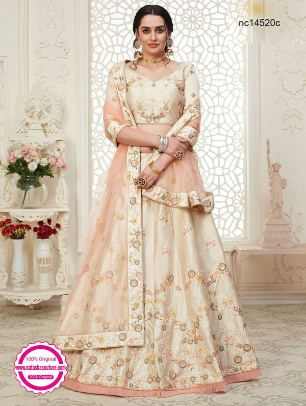 Cream Silk Bridal Lehenga Choli NC14520C