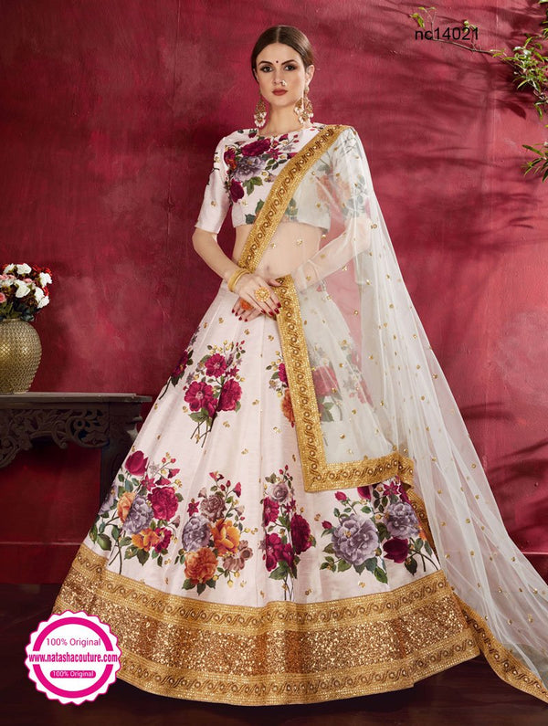 Cream Silk Floral Lehenga Choli NC14021
