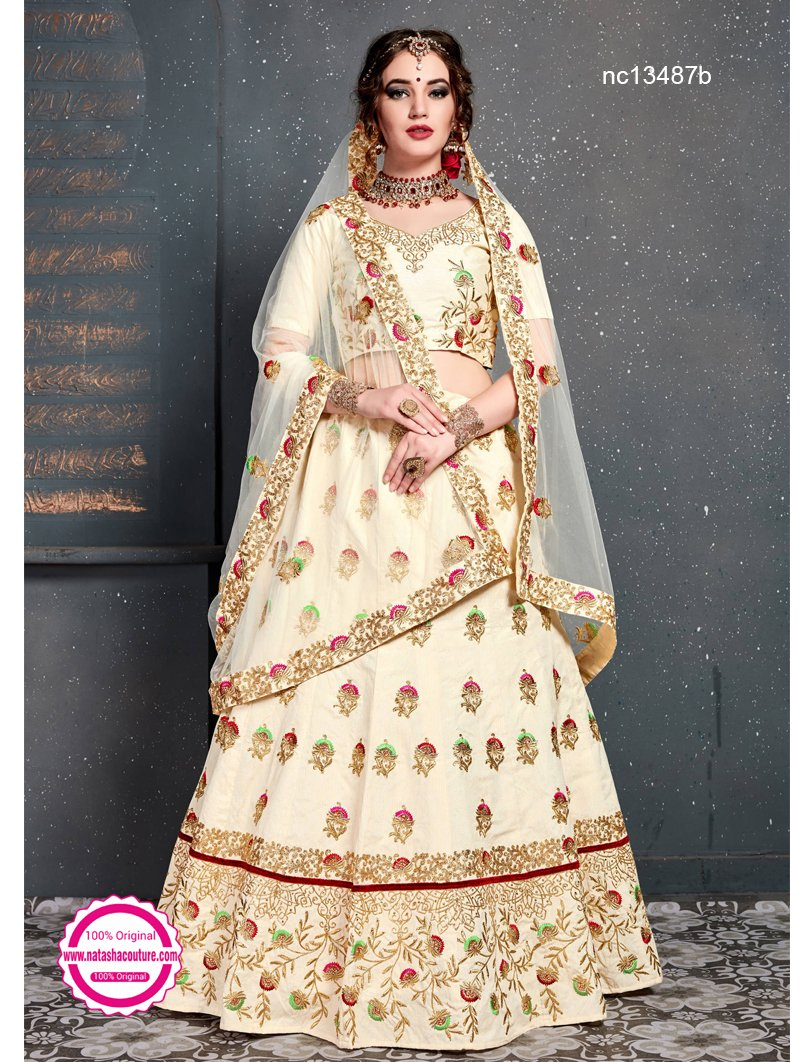 Cream Silk Lehenga Choli NC13487B