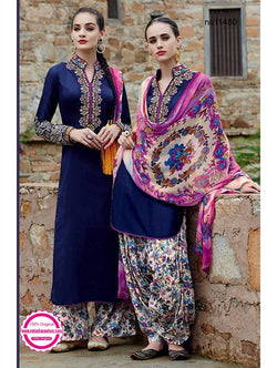 Dark Blue & Cream Cotton Satin Designer Wear Suit NC11480