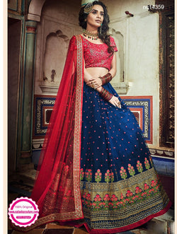 Dark Blue Net Lehenga Choli NC14359
