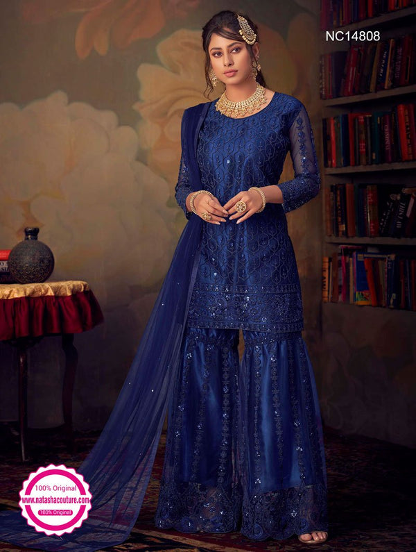 Dark Blue Net Sharara Pants Suit NC14808