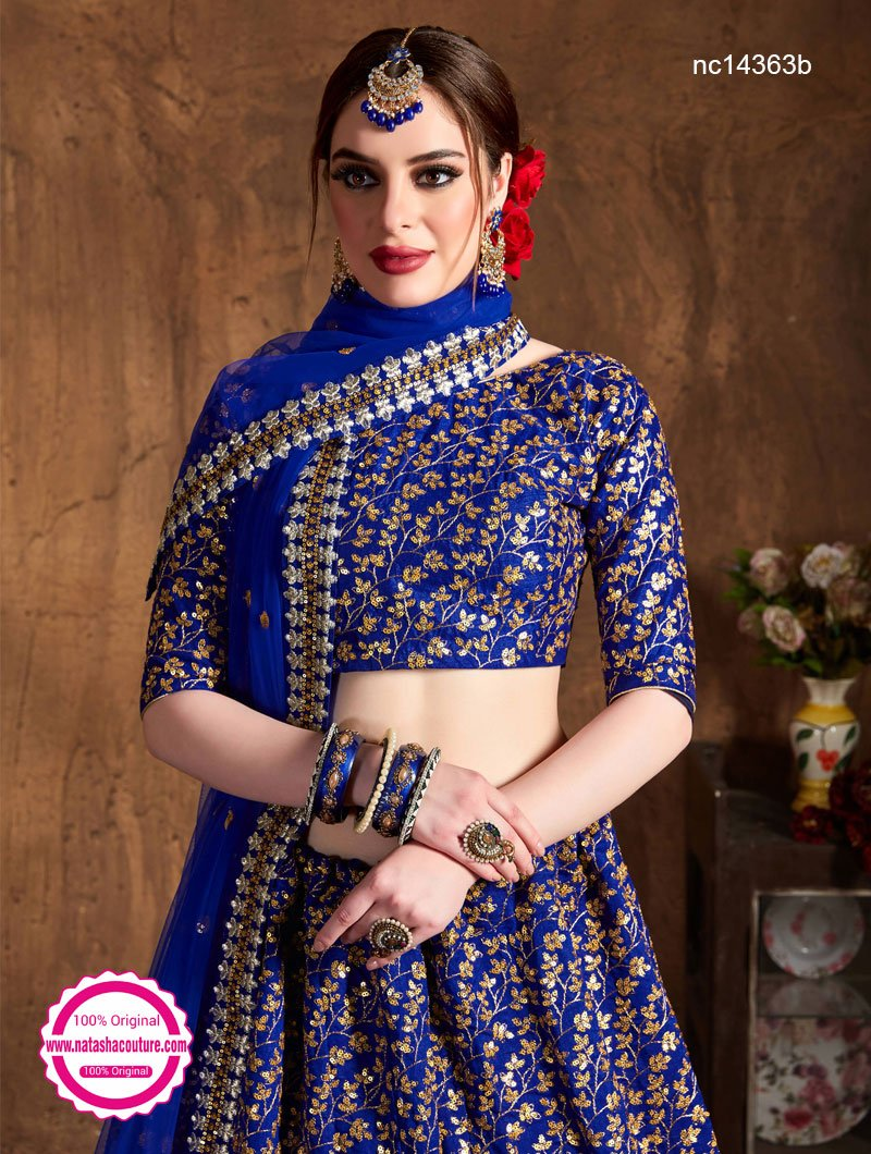 Dark Blue Raw Silk Lehenga Choli NC14363B