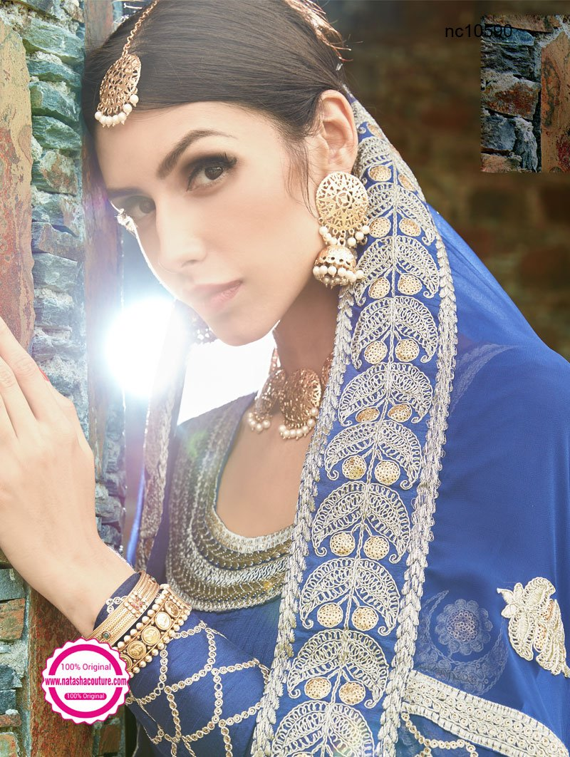 Dark Blue Silk Anarkali Suit NC10590