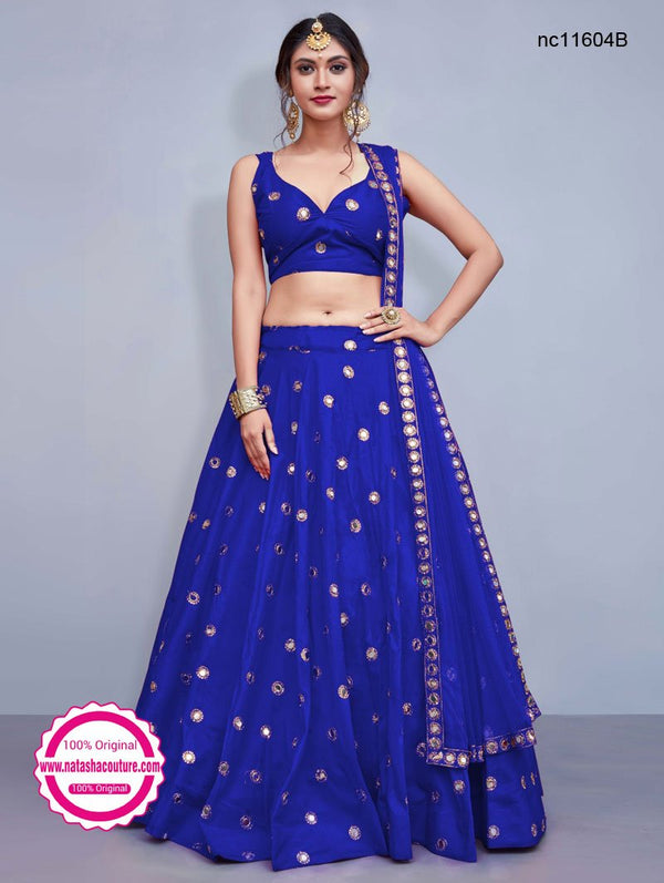 Dark Blue Silk Designer Readymade Lehenga Choli NC11604B