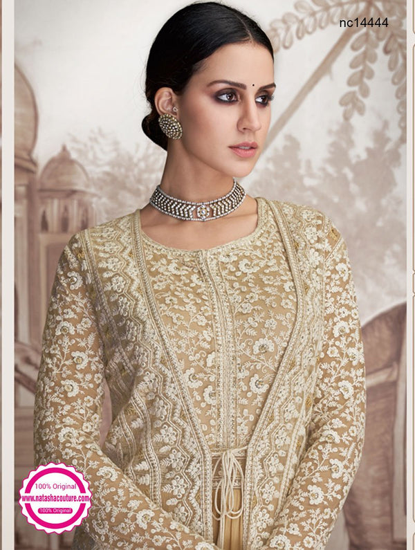 Dark Cream Georgette & Net Jacket Style Readymade Anarkali NC14444