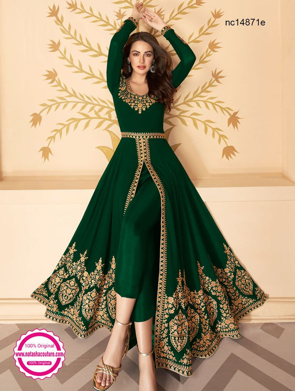 Dark Green Georgette Pant Style Suit NC14871E
