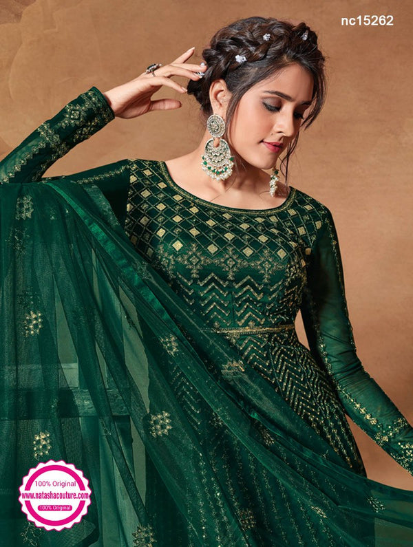 Dark Green Net Anarkali Suit NC15262