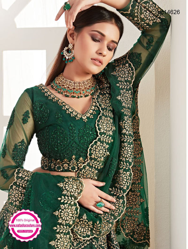 Dark Green Net Bridal Lehenga Choli NC14626