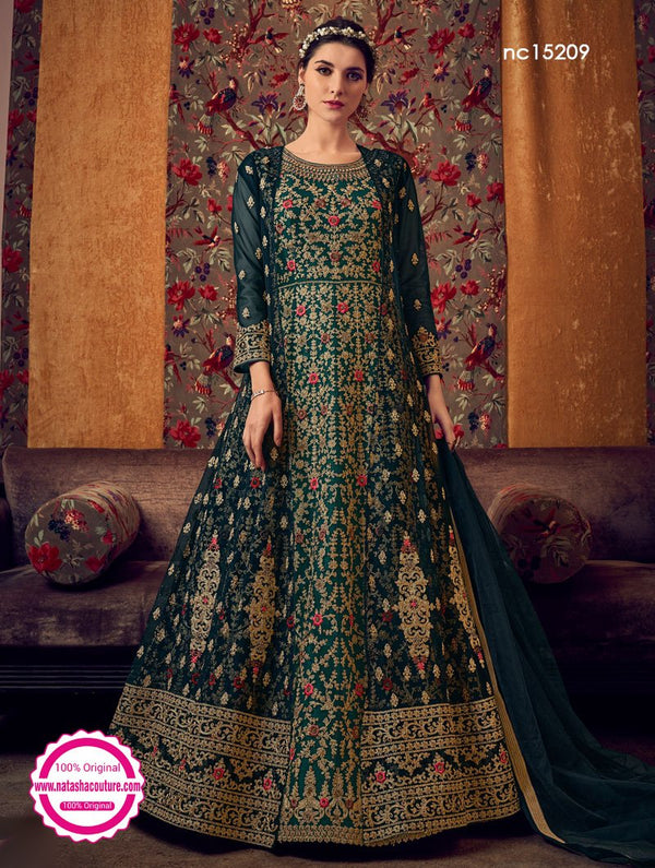 Dark Green Net Jacket Style Anarkali Suit NC15209