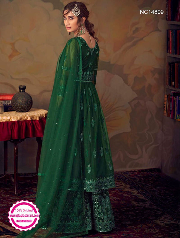 Dark Green Net Sharara Pants Suit NC14809