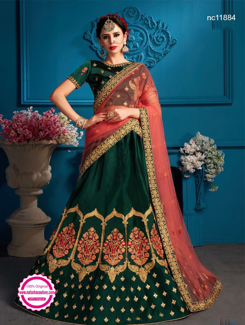 Dark Green Satin Lehenga Choli NC11884
