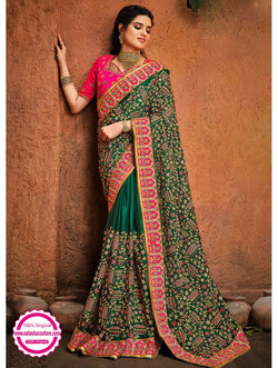 Dark Green Satin Saree NC15347