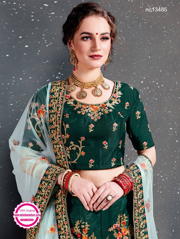 Dark Green Satin Silk Lehenga Choli NC13485