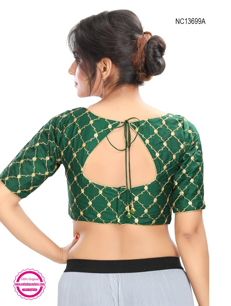 Dark Green Silk Embroidered Readymade Blouse NC13699A