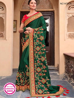 Dark Green Silk Satin Saree NC14787A