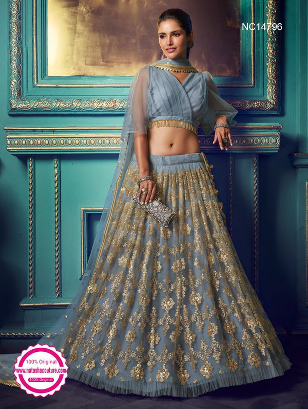 Dark Grey Net Sequins Lehenga Choli NC14796