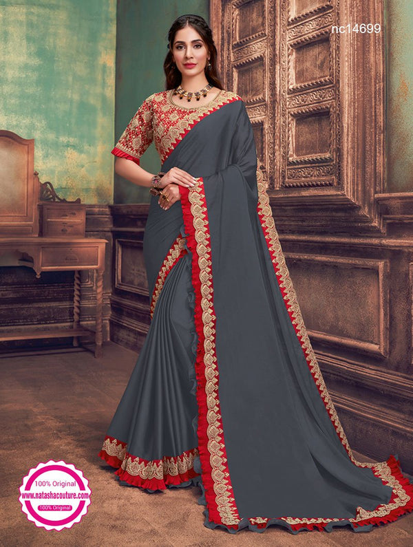 Dark Grey Silk Georgette Saree NC14699