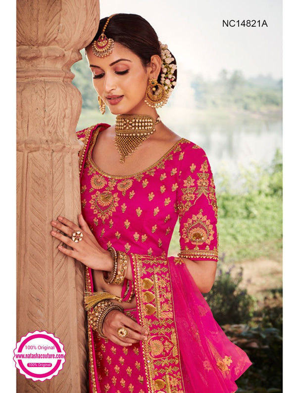 Dark Pink Silk Bridal Lehenga Choli NC14821