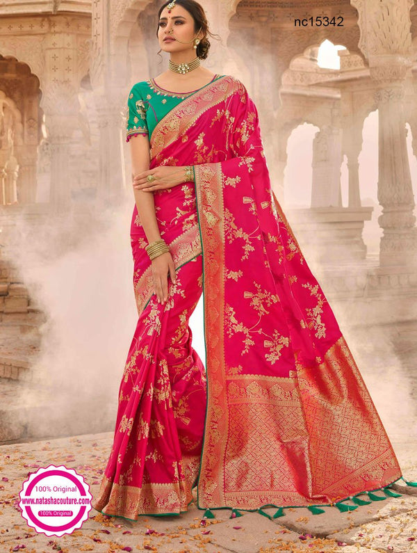 Dark Pink Silk Saree NC15342