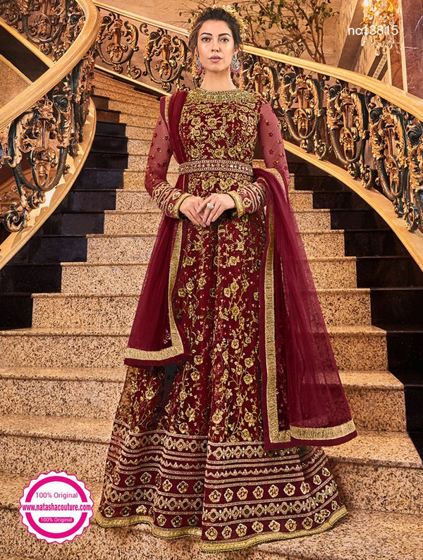 Dark Red Net Anarkali Suit NC13815