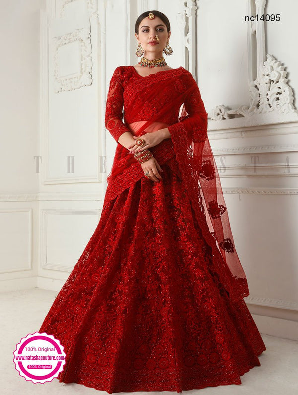 Dark Red Net Lehenga Choli NC14095