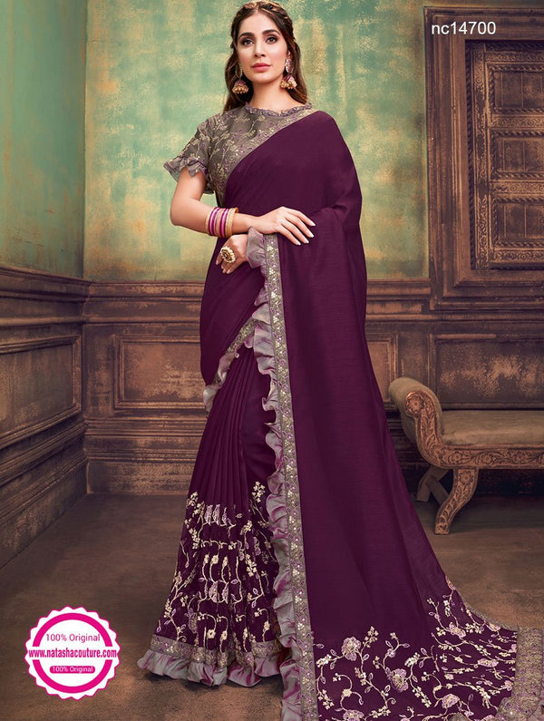Deep Purple Silk Georgette Saree NC14700