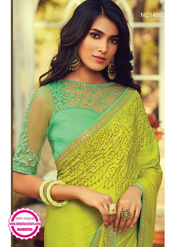 Florescent Green Silk Saree NC14882