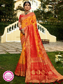 Gold & Red Banarasi Silk Saree NC14748