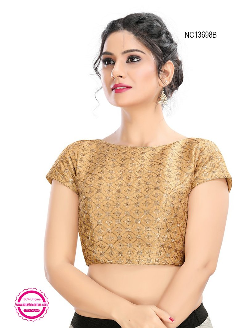 Gold Silk Embroidered Readymade Blouse NC13698B