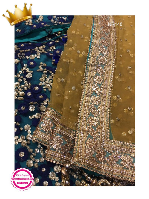 Green & Blue Net Handwork Exclusive Designer Lehenga Choli NR148
