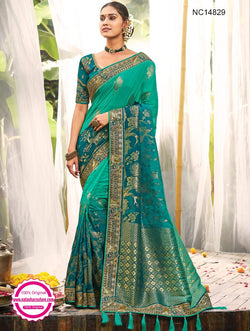 Green & Blue Shaded Silk Saree NC14829