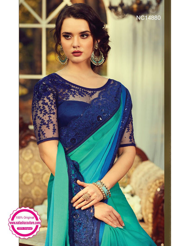 Green & Blue Shaded Silk Saree NC14880