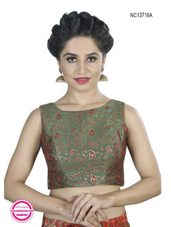 Green Brocade Readymade Blouse NC13716A