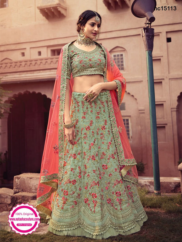 Green Georgette Embroidered Lehenga Choli NC15113
