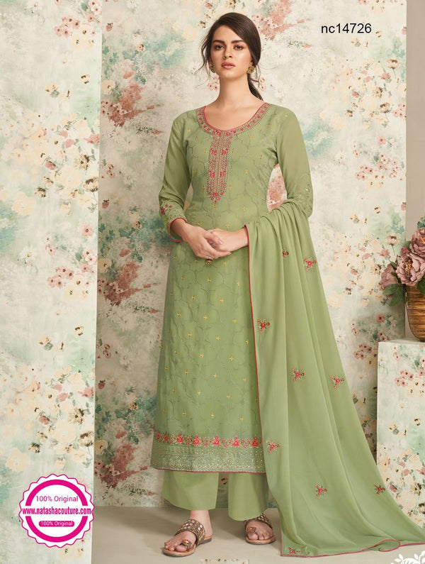 Green Georgette Palazzo Suit NC14726