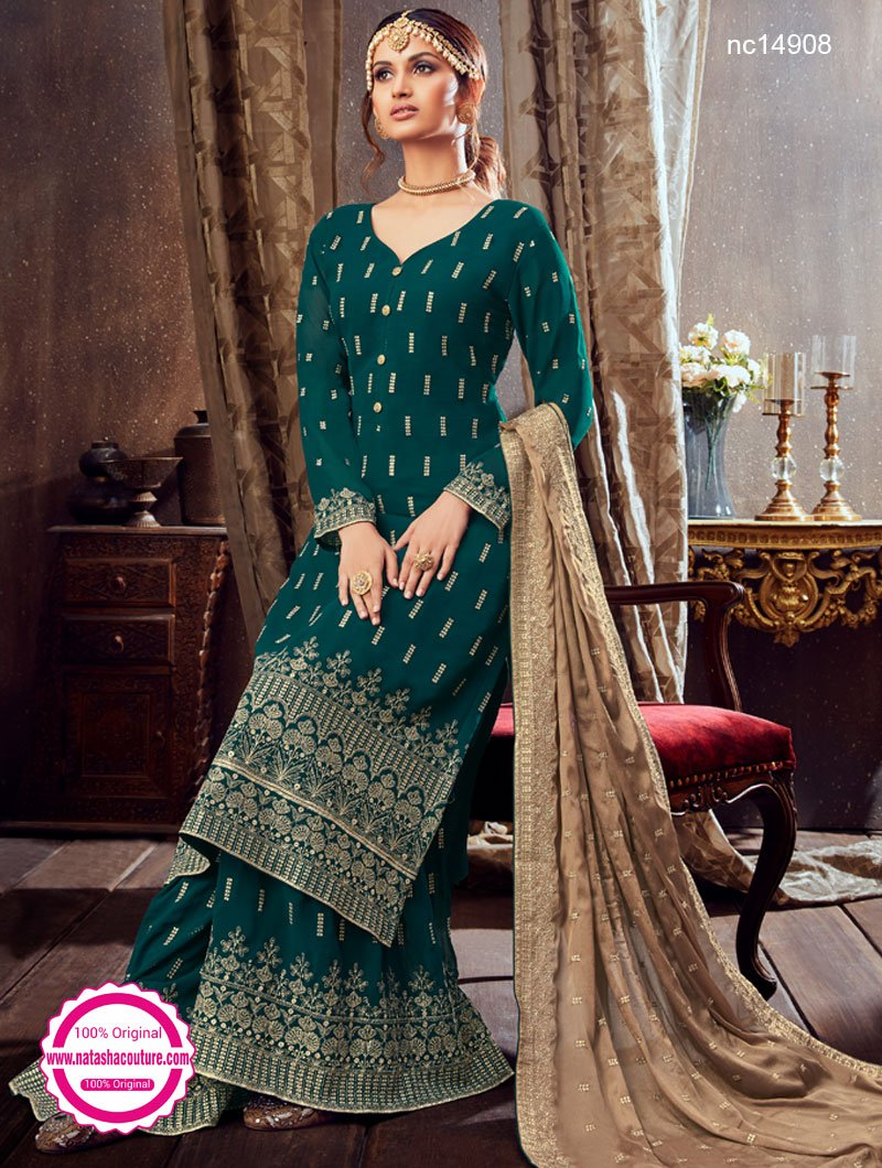 Green Georgette Palazzo Suit NC14908