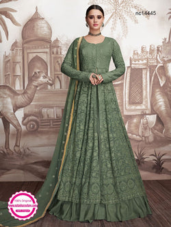 Green Georgette Readymade Anarkali NC14445