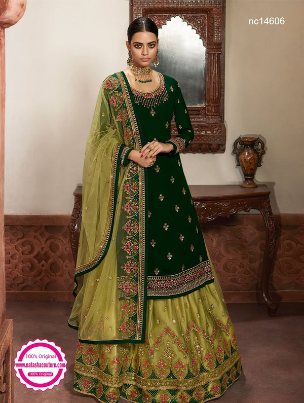 Green Georgette & Net Lehenga & Pant Style Suit NC14606A