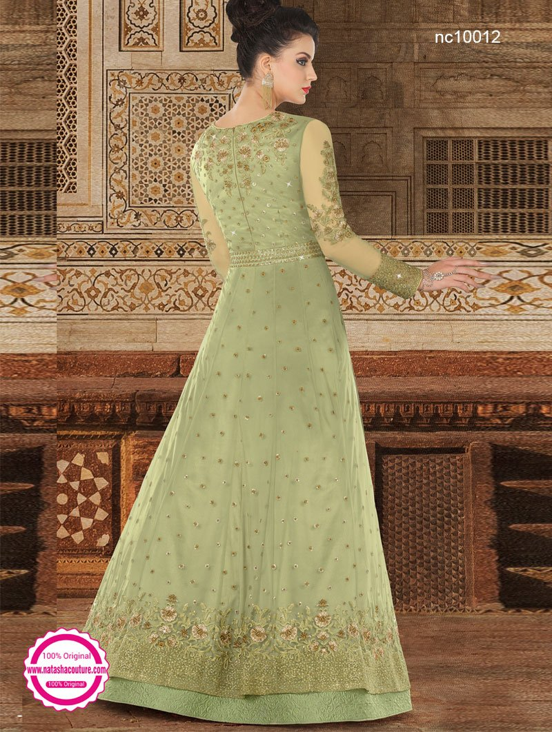 Green Net Anarkali Suit NC10012