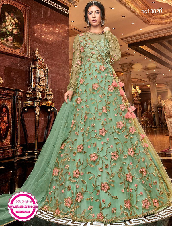Green Net Anarkali Suit NC13820