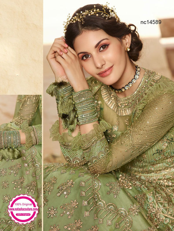 Green Net Anarkali Suit NC14588